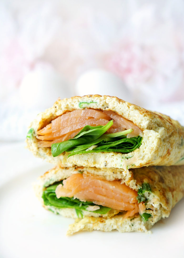 10-Minute Smoked Salmon, Spinach & Egg White Wraps