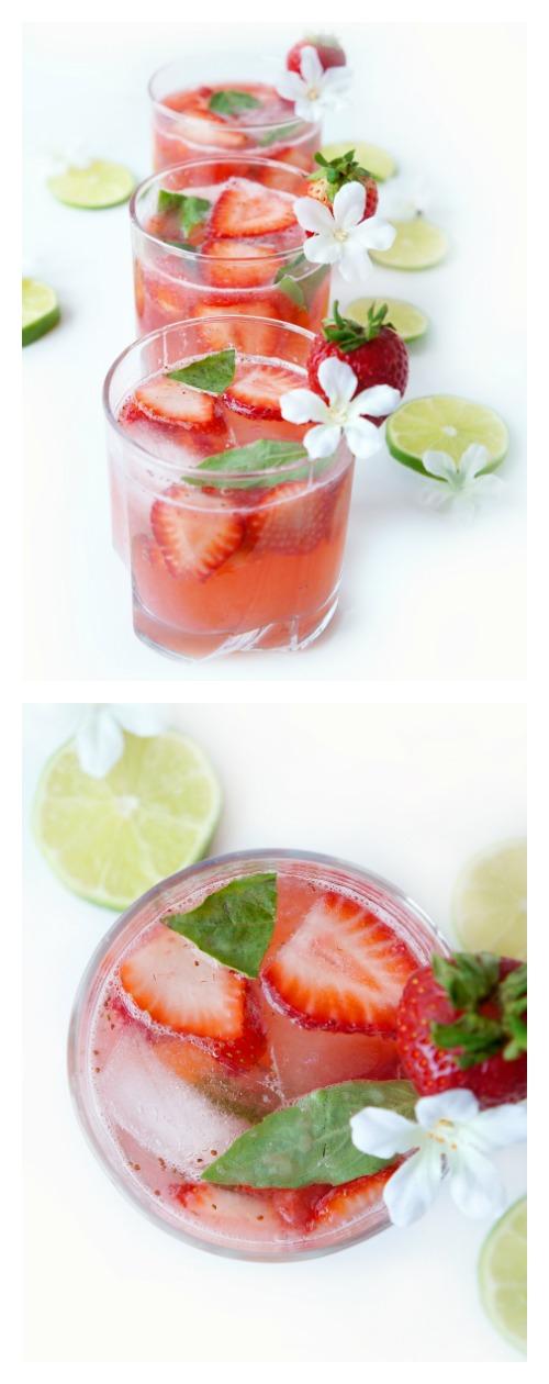 Strawberrry Basil Lime Spritzer