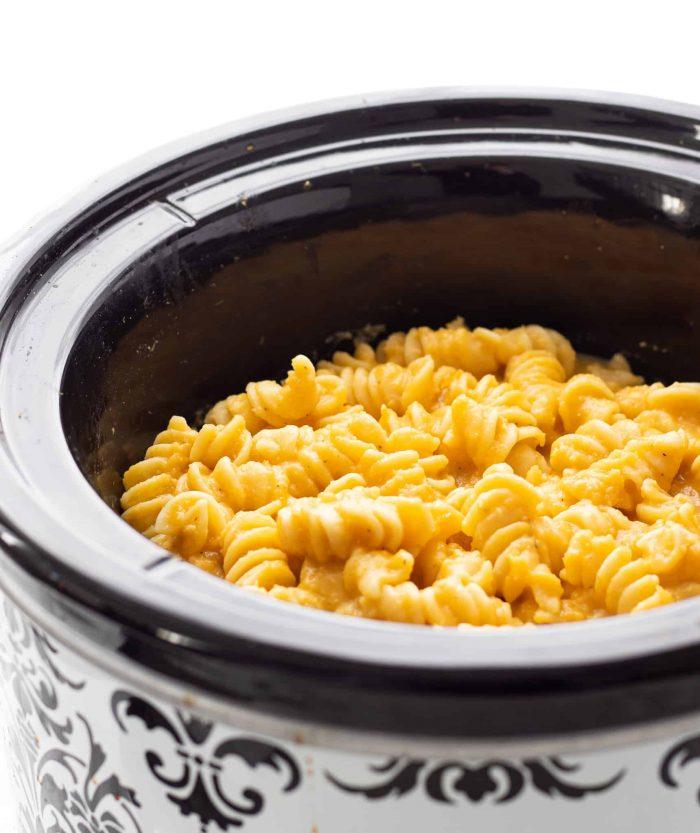 butternut squash mac and cheese in crockpot