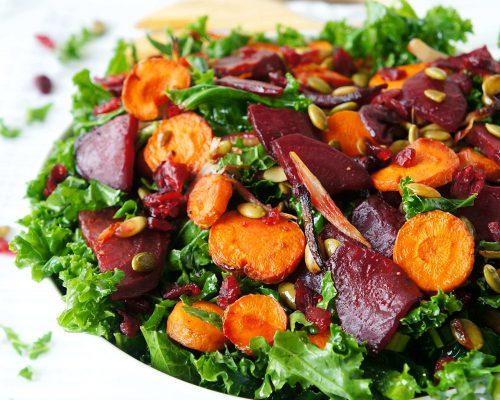 Roasted Beet, Carrot & Kale Salad