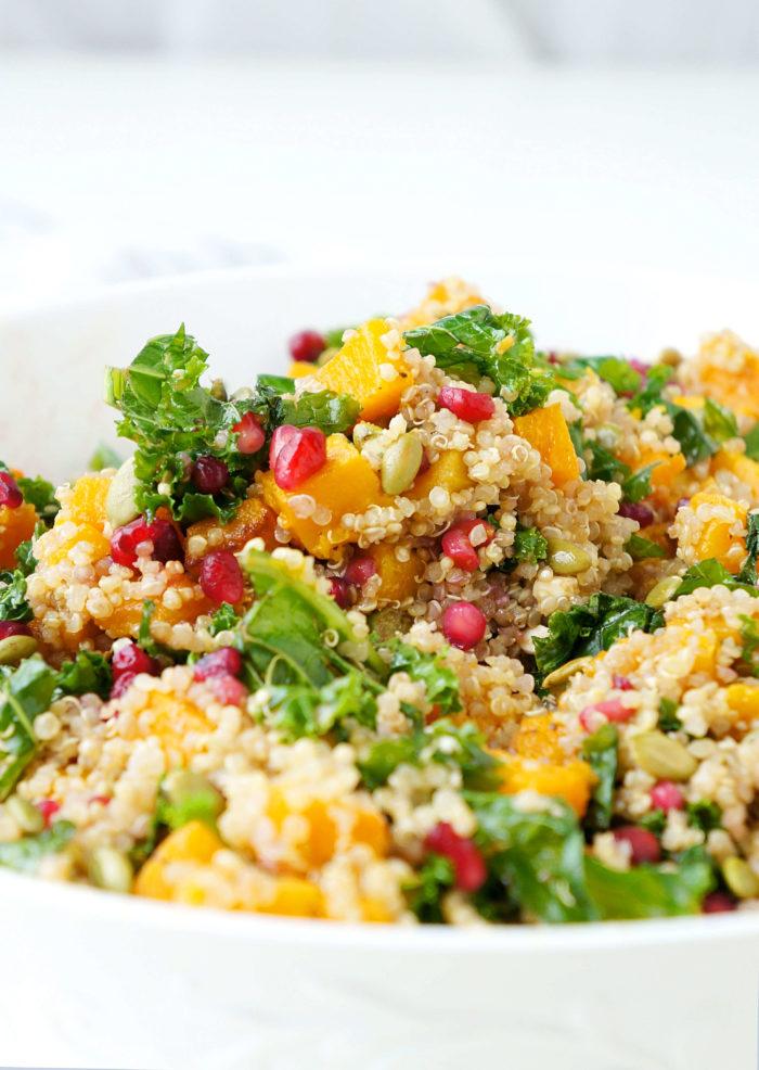 Butternut Squash, Pomegranate & Kale Quinoa Salad