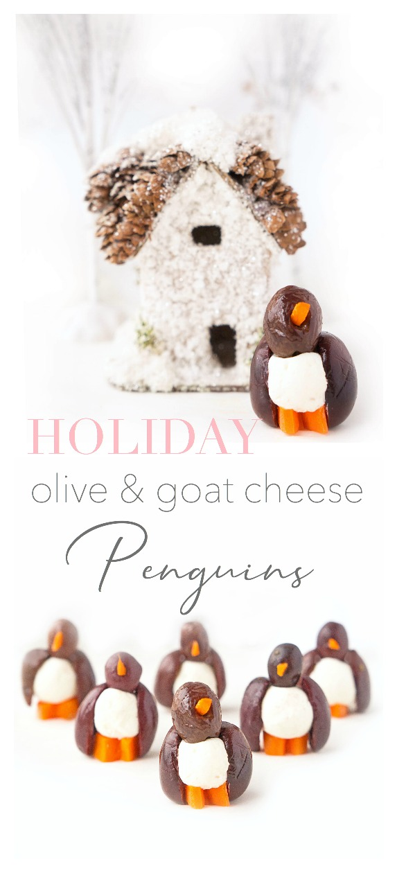 Olive & Goat Cheese Penguins