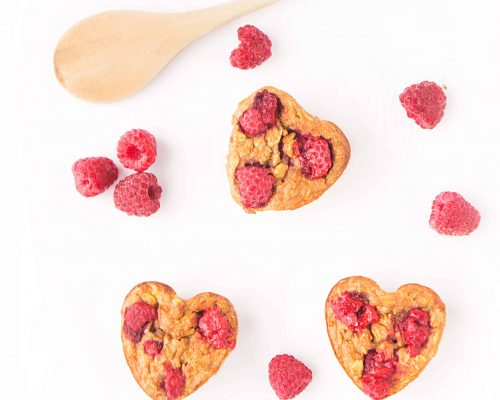Raspberry Banana Baked Oatmeal Hearts