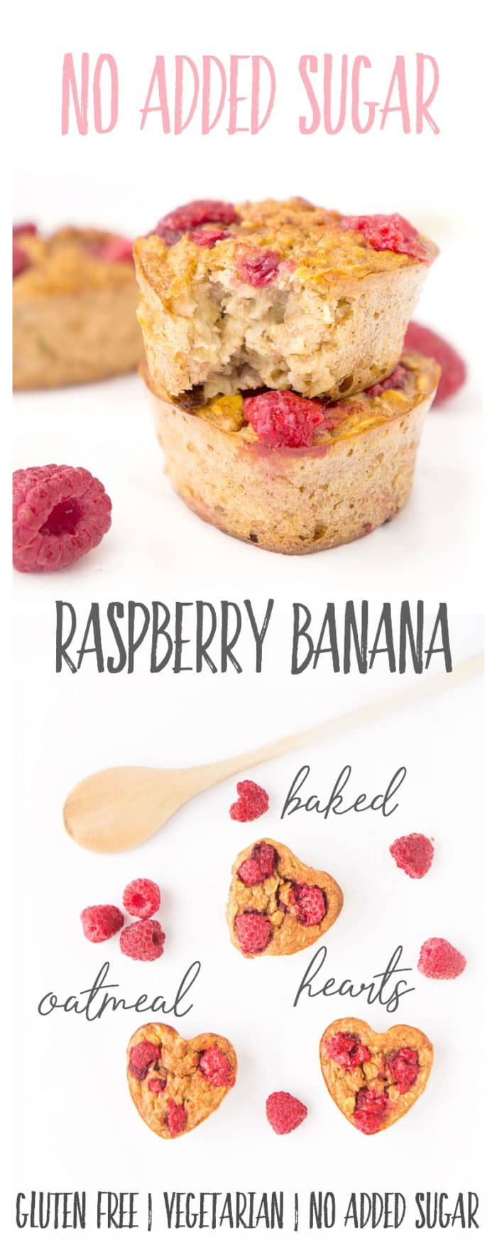 Raspberry Banana Baked Oatmeal Hearts