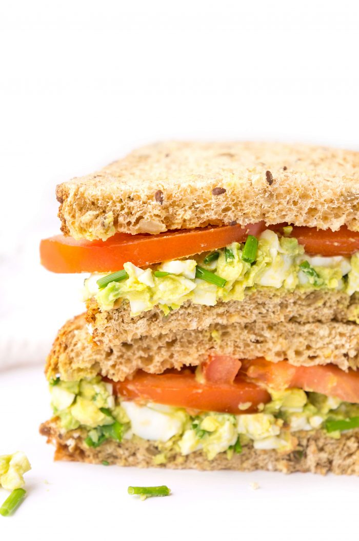 Avocado Egg Salad Sandwich with tomato slices