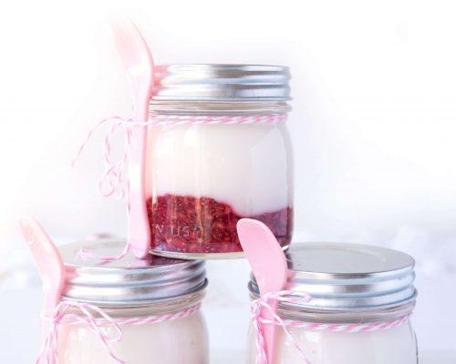 Homemade Raspberry Fruit-on-the-Bottom Yogurt Mason Jars
