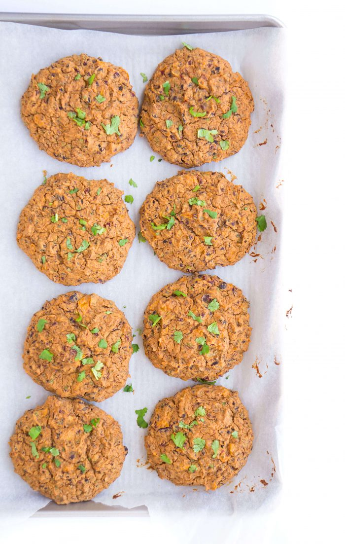 veggie burgers on baking sheet