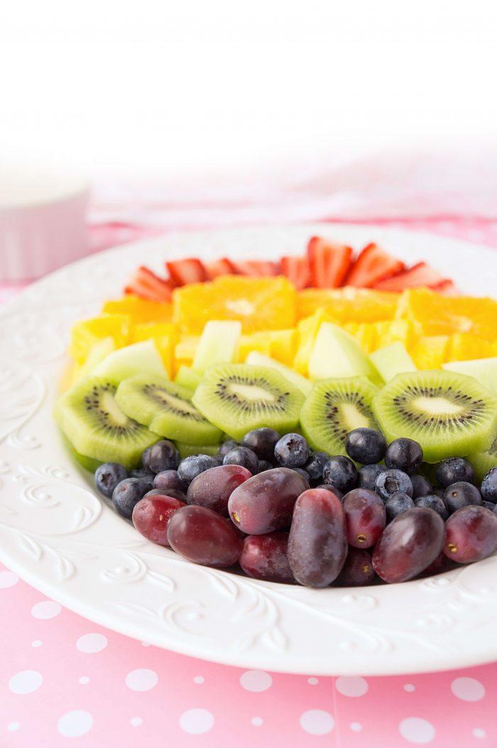 Rainbow Fruit Tray with Orange Honey Greek Yogurt Dip