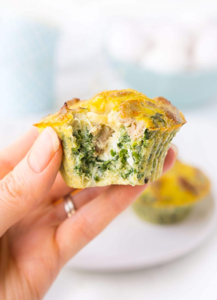 Turkey Sausage Spinach Egg Muffins