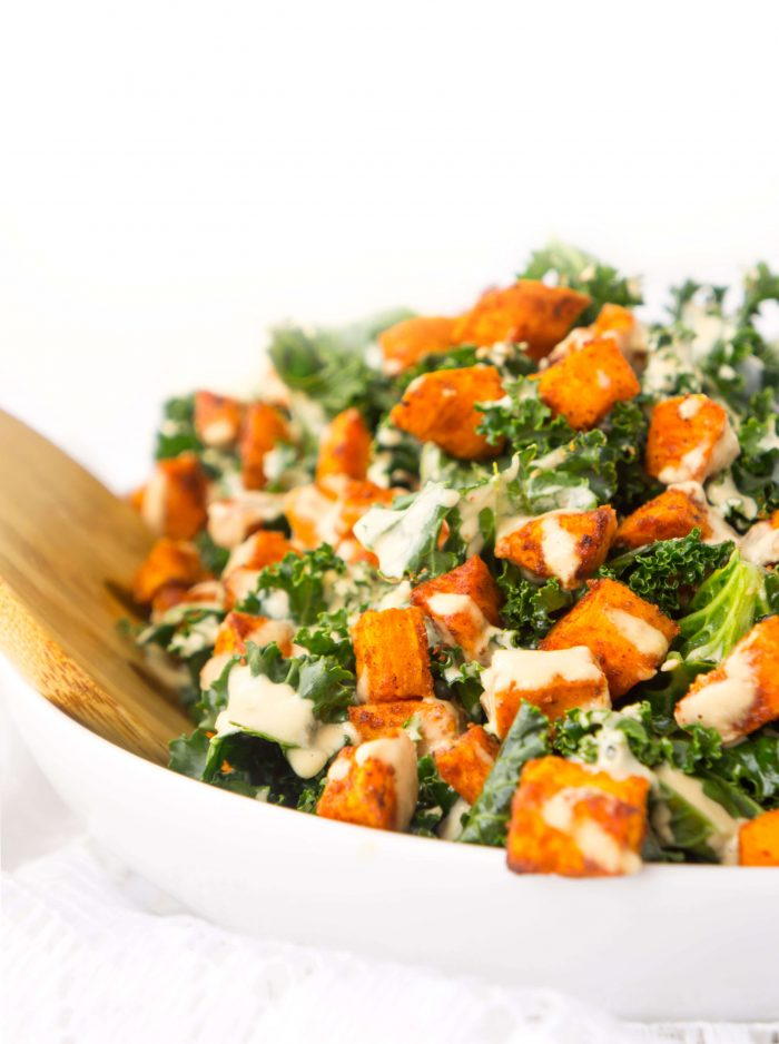Sweet Potato Kale Bowl with Creamy Roasted Garlic Dressing