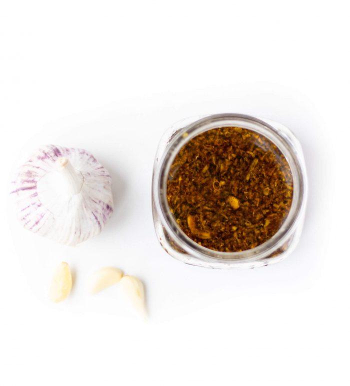 Honey garlic chicken marinade in mason jar