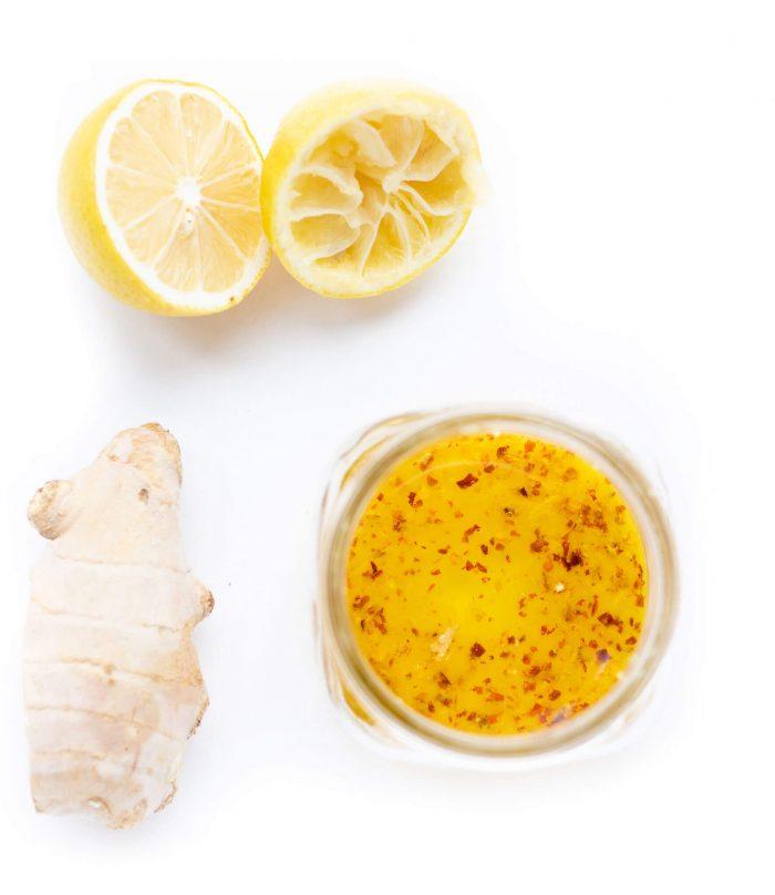 Lemon ginger chicken marinade in mason jar