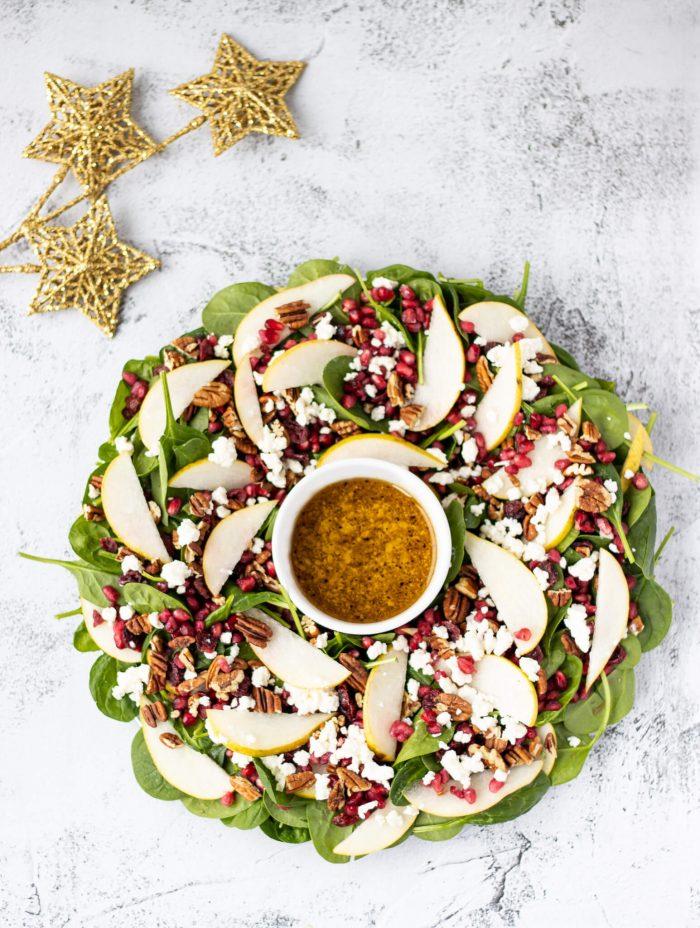 Pear & Pomegranate Christmas Wreath Salad