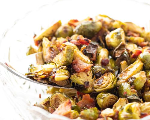 Maple Balsamic Roasted Brussel Sprouts with Bacon
