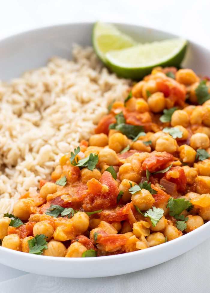 chickpea curry served with brown rice