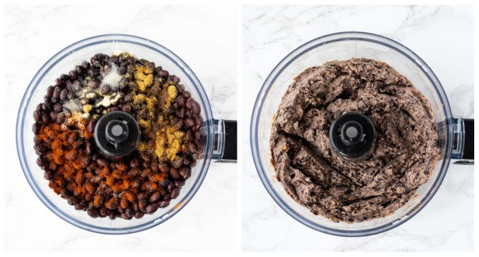 Black bean tostada mixture in food processor