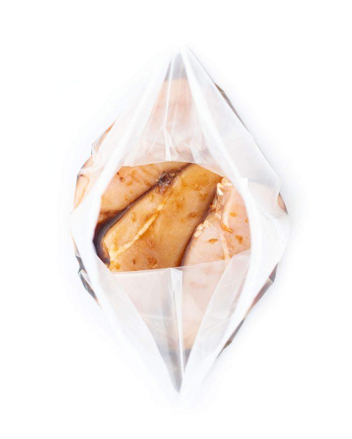 Honey garlic chicken marinade in ziplock bag