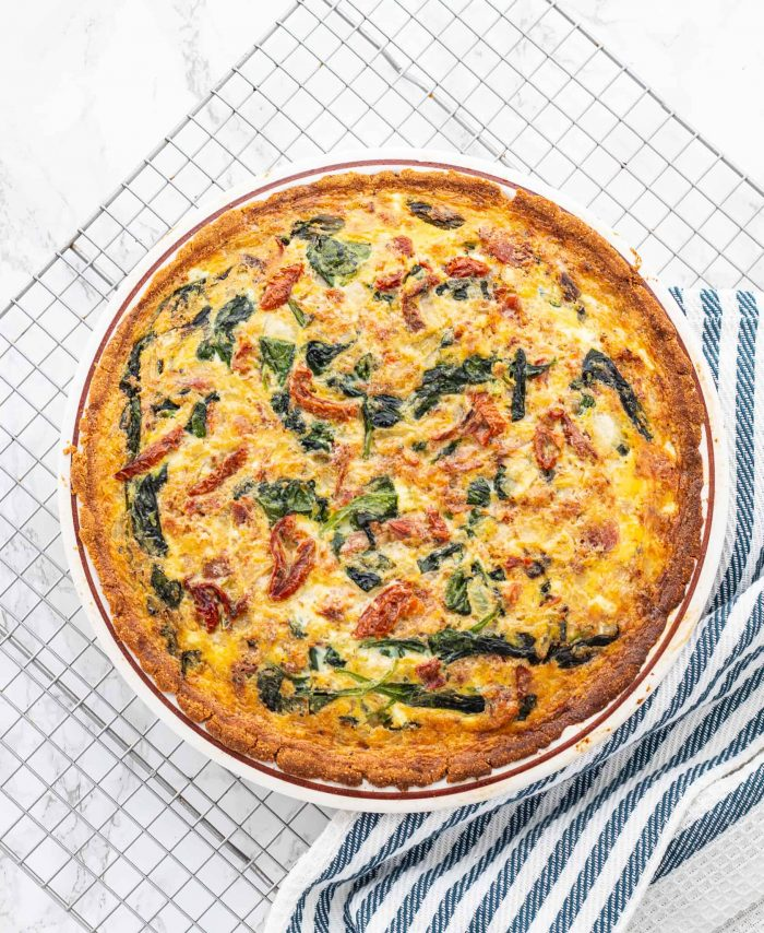 baked low carb spinach bacon quiche
