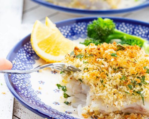 eating parmesan crusted cod