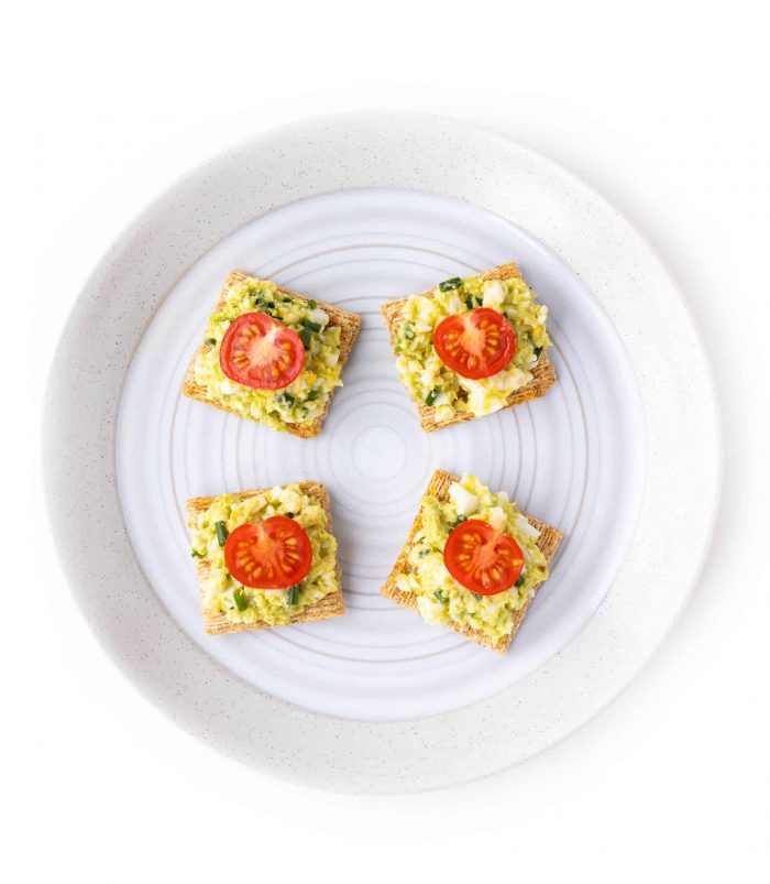 avocado egg salad on crackers