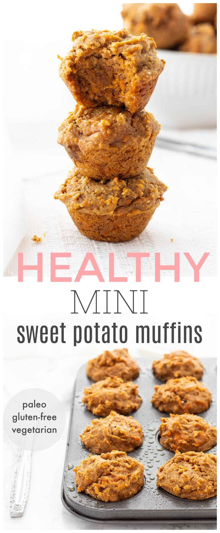 These mini sweet potato muffins make a delicious snack for the whole family! They're packed with nutrients, low in sugar and super moist and flavourful. The perfect little bite for babies, toddlers, older children and adults! {paleo, gluten-free, refined sugar-free & vegetarian}