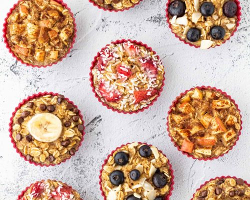 different flavours baked oatmeal cups