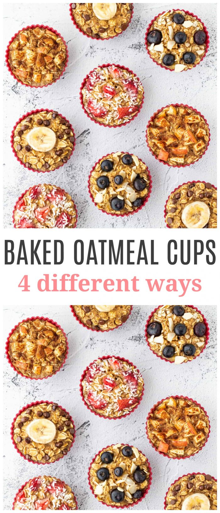 These healthy oatmeal muffins are a fun and easy make-ahead breakfast option that are flourless and totally customizable! Try out the four different flavours provided or add your own unique spin! Best baked oatmeal cups ever! {gluten-free, dairy-free & vegetarian}