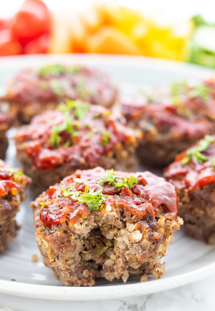 Mini meatloaf muffins on a white plate