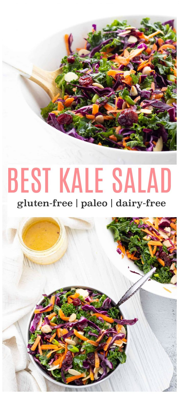 Craving a refreshing and colourful salad? This kale salad with cranberries is sure to be a hit with family and friends! The best part is, it lasts in the fridge for up to a few days so it's the perfect make-ahead option! {gluten-free, dairy-free & vegan}