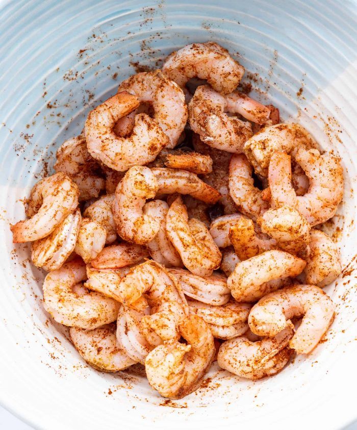 shrimp coated in the spice mix