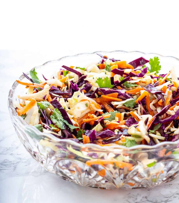 The slaw in a glass bowl