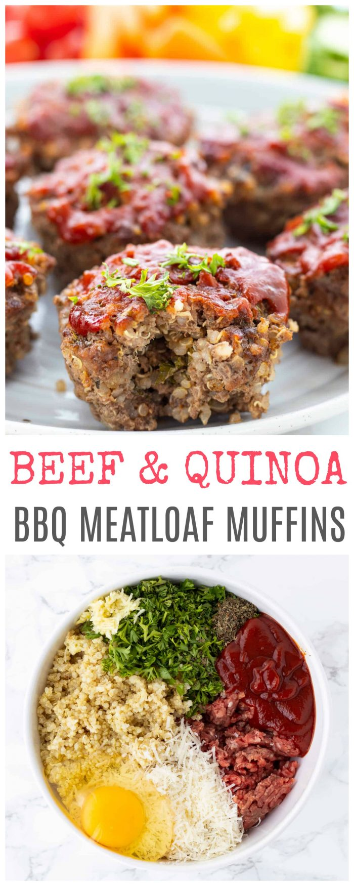 These BBQ meatloaf muffins are made with beef and quinoa for a hearty, filling and protein packed dinner. Simple to prepare, they make for a great main dish or lunch and can also be made ahead of time for freezer-friendly meals. Made without breadcrumbs and gluten-free.