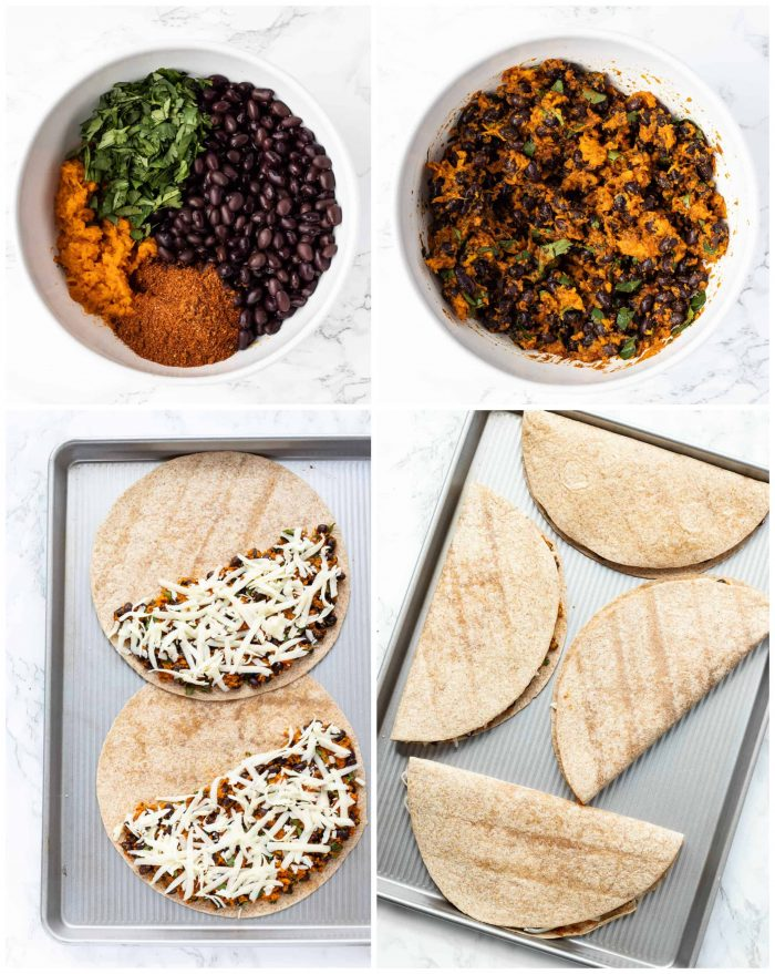 collage for how to make quesadillas