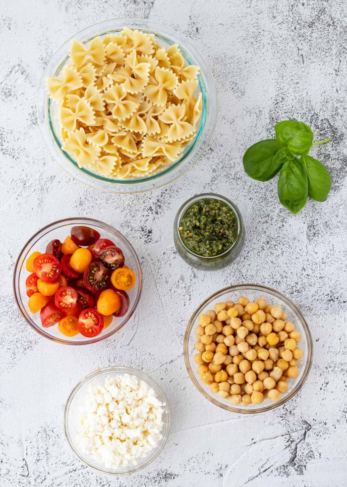 Ingredients in glass bowls