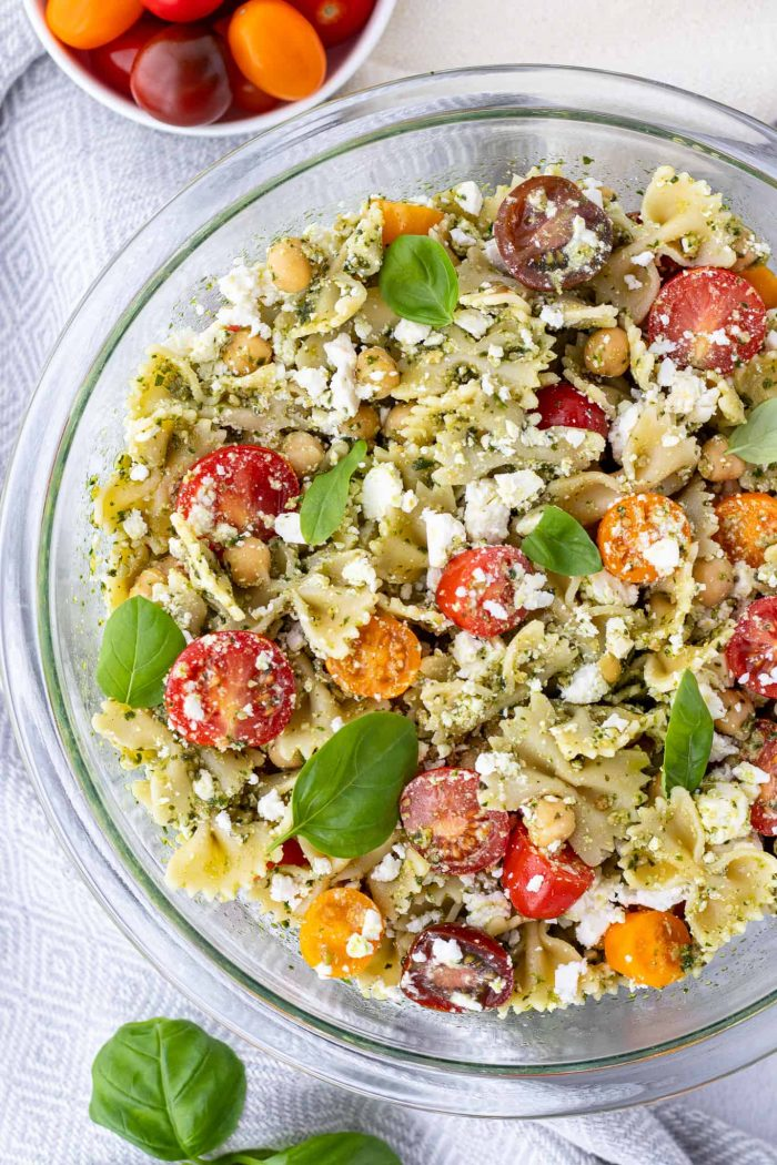 Top down shot of healthy pasta salad in a bowl