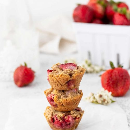 stack of mini muffins with strawberries