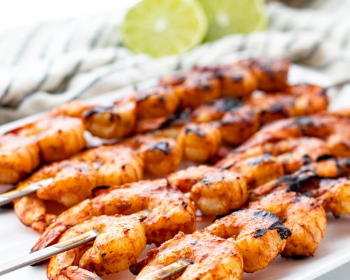 grilled shrimp on a platter