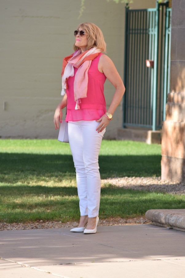 pink top white jeans scarf 488 - Copy