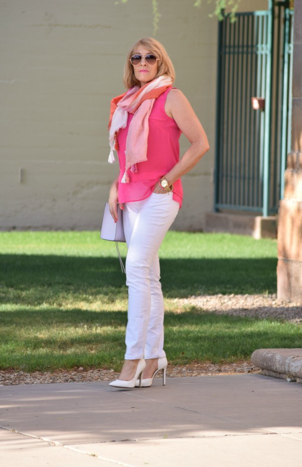 pink top white jeans scarf 491 - Copy