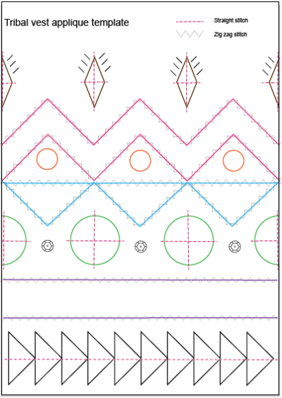 Tribal vest applique template