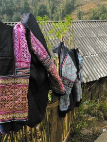 Detailed Hmong hand embroidery