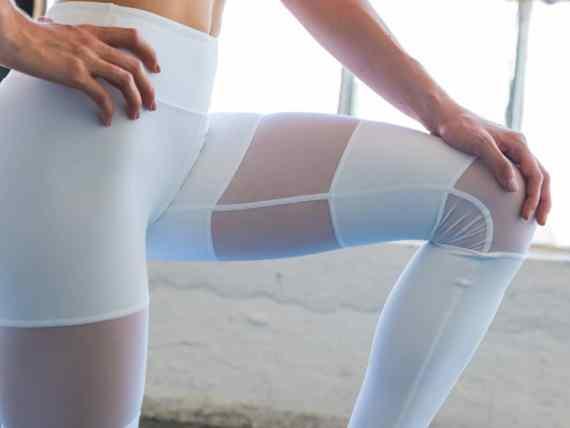 White Peek-a-Boo Flexi Yoga Pants