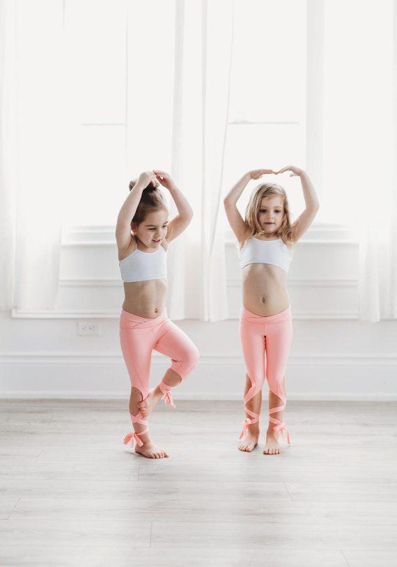 Coral Pink Flexi Kids Dancer Leggings