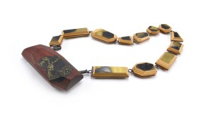 ViT-O6 Brooch Necklace | broken skateboards. blood wood. cement. brass. sterling silver. stainless steel.