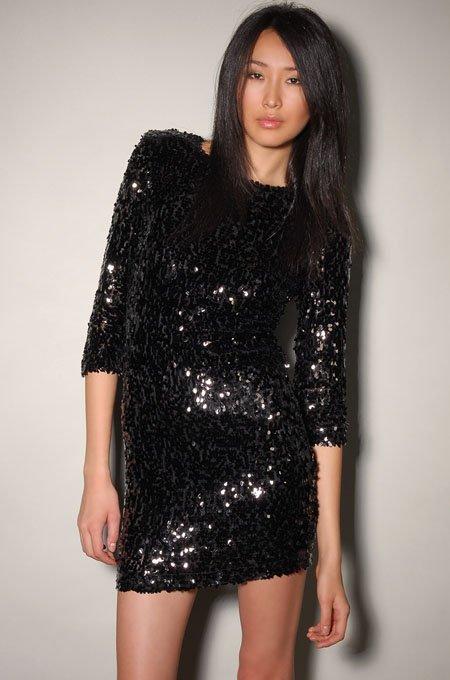Sequin 3/4 Sleeve Dress