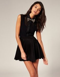 Motel Chiffon Shirt Top Dress With Leopard Print Bow Tie