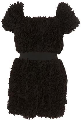 Black Chiffon Fluffy Banded Waist Dress