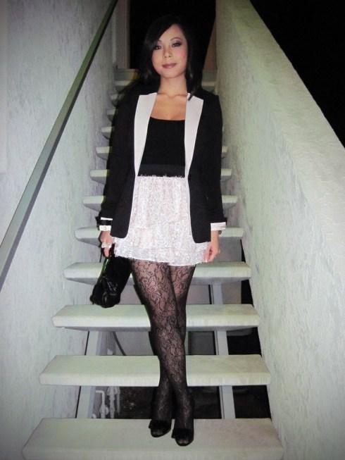 An Dyer in H&M Blazer, Tutu Skirt & Bow Bracelets   Worthington Tights   Forever 21 Camisole   Aldo Clutch   Michael Kors Watch   Miu Miu Bow Pumps