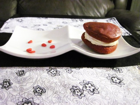 An Dyer's Heart Shaped Red Velvet Whoopie Pie