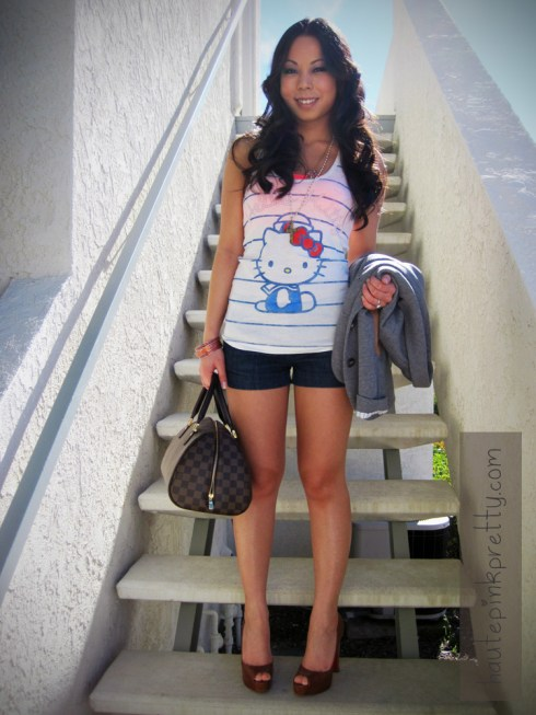 An Dyer in H&M Heather Grey Sports Coat | Forever 21 Hello Kitty Tank, Denim Shorts & Rosary Necklace | Louis Vuitton Ribera Mm & Monogram Inclusion Necklace | Banana An Coral Bangles | Christian Louboutin Gabin 140 Kid Cuoio Heel in Brown Beige